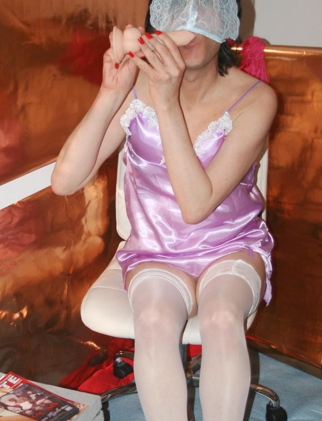 Sissy in panties sniffs dirty knickers