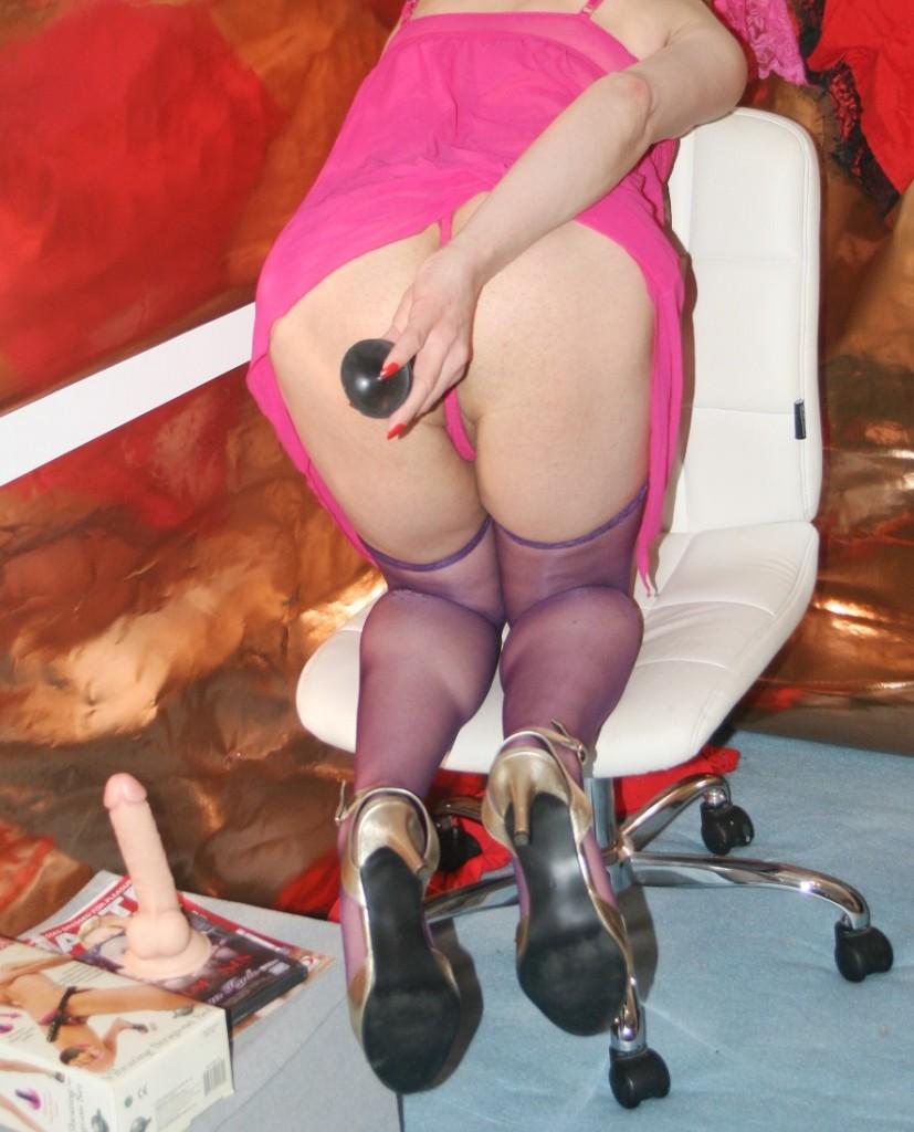 Anal play for sissy cross-dresser